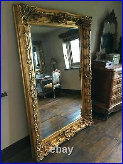Antique Gold Large French Leaner Ornate Statement Dress Wall Floor Mirror 6ft