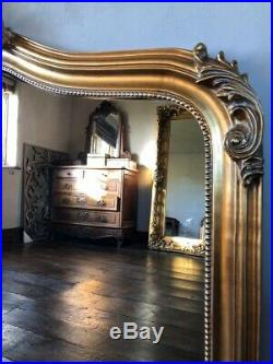 Antique Gold Large Statement Gilt Ornate French Over Mantle Arch Wall Mirror