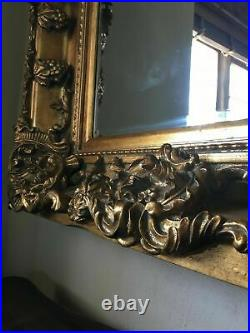 Antique Gold Large Statement Swept French Dress Leaner Floor Wall Mirror 7ft