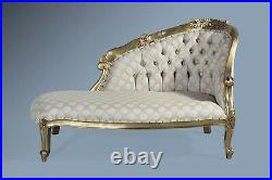 Antique Gold Leaf French Statement Loveseat Sofa Chaise Longue Lounge Daybed