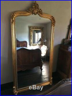Antique Gold Ornate French Arch Scroll Dress Floor Leaner Wall Mirror 7ft
