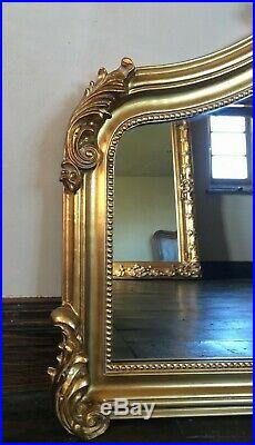 Antique Gold Ornate French Statement Period Over mantle Scroll Arch Wall Mirror