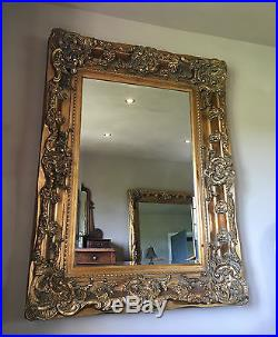 Antique Gold Rococo Ornate Large French Overmantle Wall Chunky Wood Mirror 5ft