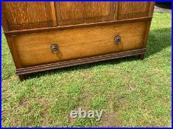 Antique Oak Mirrored Wardrobe Vintage Boudoir Bedroom Mirror