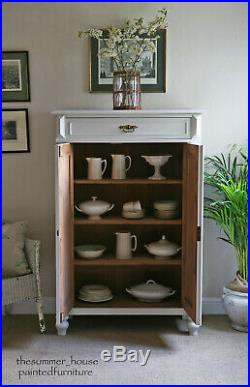 Antique Painted French Mini Armoire Wardrobe Tallboy Linen Press, Little Greene