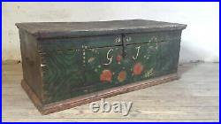 Antique Painted French Wedding Chest Swedish Folk Art Dowry Chest Hope Chest