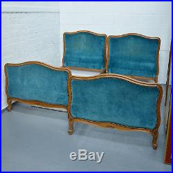 Antique Pair of French Louis Single Beds Upholstered in Blue