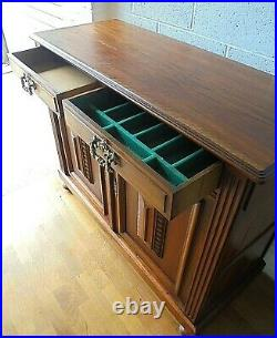 Antique Rosewood French Buffet Sideboard Cabinet With Cupboards & Drawers