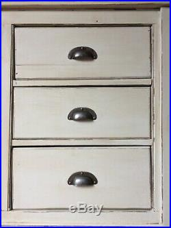 Antique Rustic Pine Painted Cream Sideboard Server Cupboard Dresser Kitchen Unit