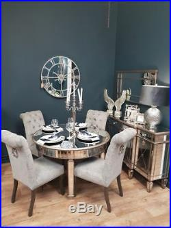 Antique Silver Deco Champagne French Mirrored Glass Large Round Dining Table