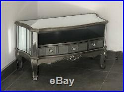 Antique Silver French Mirrored Glass 3 Drawer TV Media Unit Stand Cabinet
