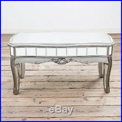 Antique Silver French Mirrored Glass Coffee Table Living Room (ven010)