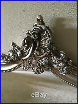Antique Silver French Ornate Overmantle Swept Scroll Top Wood Wall Mirror