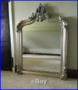 Antique Silver French Statement Over Mantle Scroll Table Top Arched Wall Mirror
