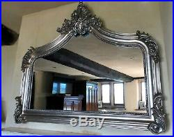 Antique Silver French Vintage Period Over mantle Scroll Top Arched Wall Mirror