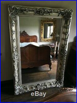 Antique Silver Large French Leaner Ornate Statement Dress Wall Floor Mirror 6ft