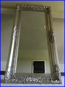 Antique Silver Large French Over Mantle Ornate Swept Statement Wall Mirror 4ft
