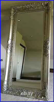 Antique Silver Large Statement Leaner Dress Swept French Wall Mirror 7ft x 4ft
