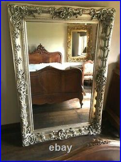 Antique Silver Large Statement Swept French Dress Leaner Floor Wall Mirror 7ft