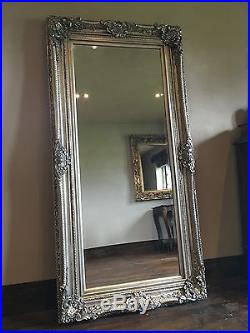 Antique Silver Ornate Large French Boudoir Wood Overmantle Wall Mirror 4ft X 3ft