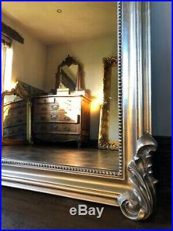 Antique Silver Statement French Over Mantle Arch Fireplace Wall Mirror 143cm