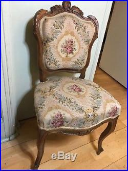Antique Small French Giltwood Sofa c. 1910. Arm Chair X2