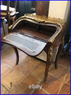 Antique Style Ladies Writing Desk, Parquetry with Gilt Metal Mounts French Style