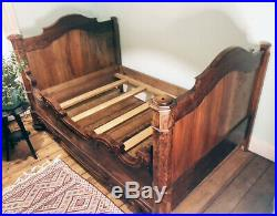 Antique Victorian 19th Century French Carved Walnut Sleigh Bed Frame Queen Size