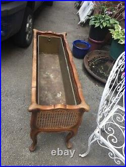 Antique Victorian French Bergere Wood Plant Stand Planter Trough Brass