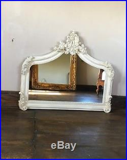 Antique Vintage Arched Scroll Top Cream Ivory French Overmantle Wall Mirror
