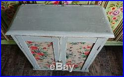 Antique Vintage Chic Pine Wall Cabinet Shelf Display Cupboard French Grey farm