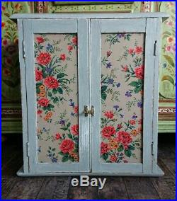 Antique Vintage Chic Pine Wall Cabinet Shelf Display Cupboard French Grey farm