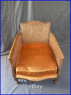 Antique Vintage French Bergere Armchair Wicker Chair