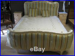 Antique Vintage French Half Corbeille Bed Frame Newly Upholstered