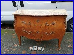 Antique Vintage French Louis XVI Style Bombe Storage Marble Chest of Drawers