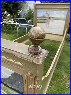 Antique Vintage French Single Sleigh Bed Bateau Chic Alpine Painted Rustic Chic