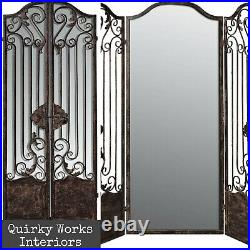 Antique Vintage French Style Mirrored 3 Fold Privacy Screen Room Divider Iron