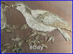 Antique Vintage Large French Regency Style Double Bed Headboard birds embroidery