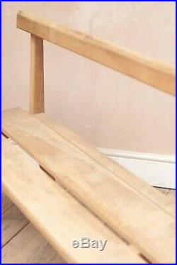 Antique Vintage Mid Century French Solid Beech Church Bench