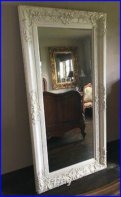 Antique White Cream Dress Ornate French Shabby Chic Leaner Floor Wall Mirror 6ft