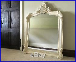 Antique White Cream French Shabby Chic Over mantle Scroll Top Arch Wall Mirror