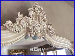 Antique White Cream Ivory Ornate French Shabby Chic Dress Arch Leaner Mirror 7ft