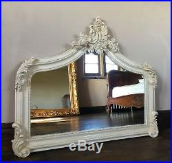Antique White Cream Vintage Arched Scroll Ivory French Overmantle Wall Mirror