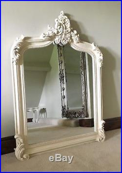 Antique White French Shabby Chic Overmantle Scroll Table Top Wood Wall Mirror