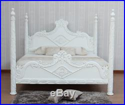 Antique White French Versailles 4 Poster Bed 6' Super King Solid Mahogany B026P