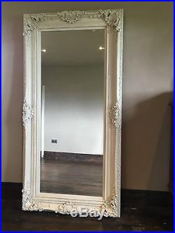 Antique White Ivory Ornate Large French Wood Dress Leaner Wall Mirror 6ft X 4ft