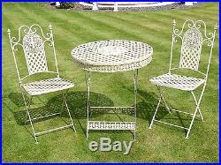 Antique White french style 3 Piece Bistro Style Garden Patio Furniture Set