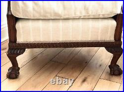 Antique bergere suite sofa chair and footstool