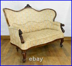 Antique carved French double scoop back sofa settee