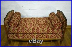 Antique carved French extendable daybed window seat chaise longue sofa